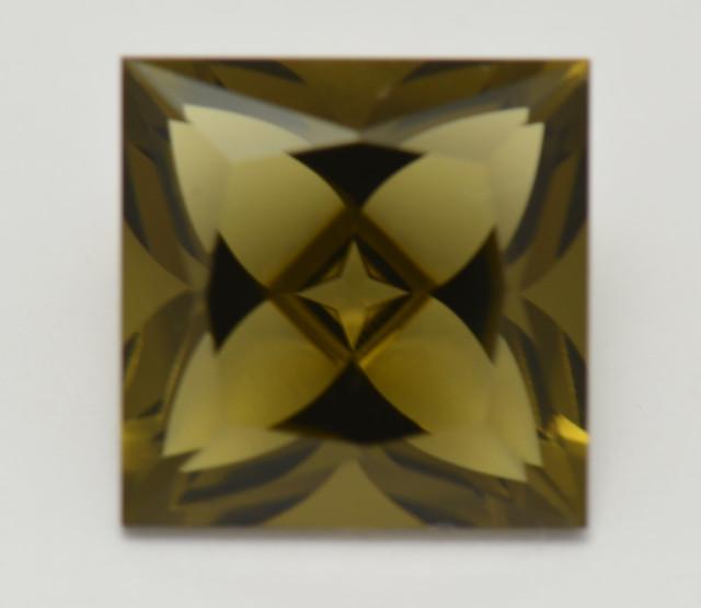 Precision Square Bijoux cut OLIVE QUARTZ 4.26ct 10 by 6mm