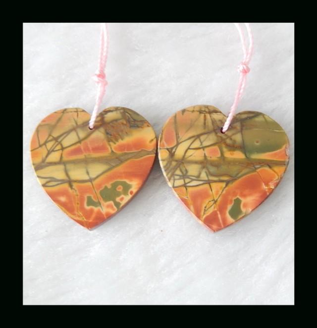 Bi Color Jasper Heart shape Earring Beads,25x19x3mm,6.19g