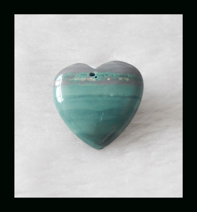 Wave Jasper Heart Shape Pendant Bead,25x25x8mm,7.04g