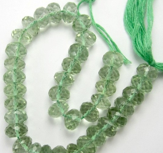 AA++ 7-8MM GLISTENING PRASIOLITE MICRO-FACETED ROUNDELS