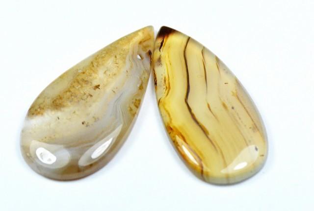 botswana agate cabochon pair