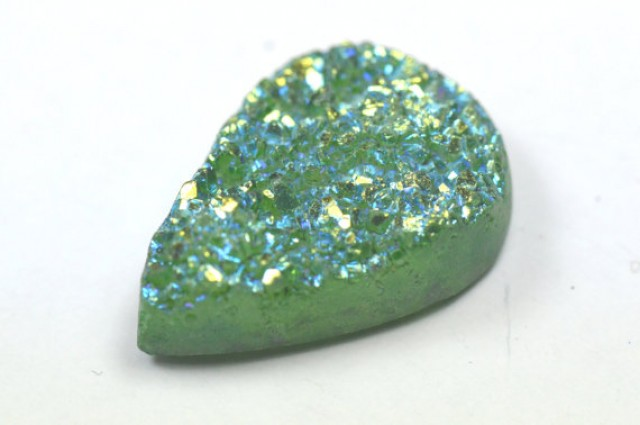 26mm Titanium coated druzy agate pear cabochon 26 by 18 by 7