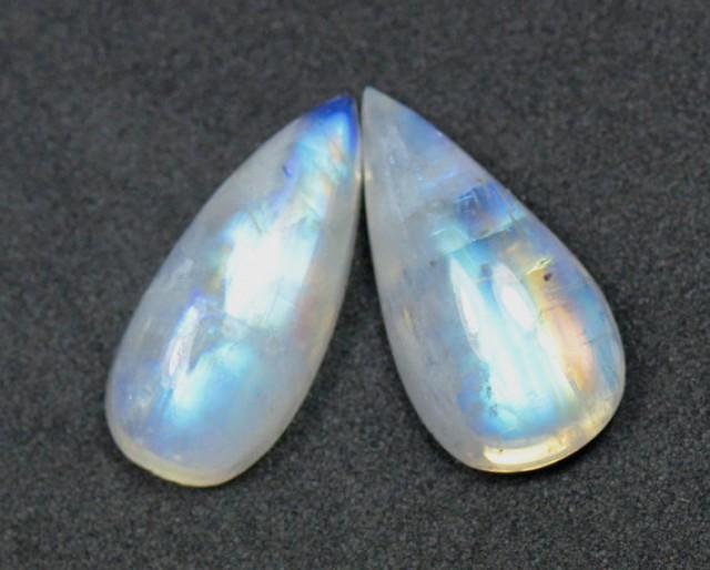 SALE Pair 18mm drop pear moonstone cabochon AA Grade