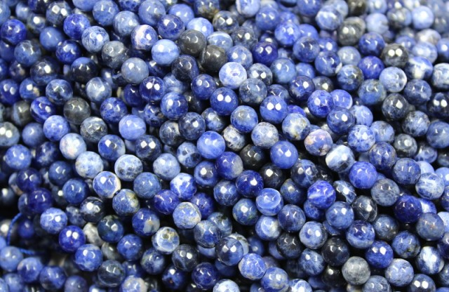82 CTS  SODALITE BEADS FACETED BEADS 6 MM ROUND - 15 INCHES