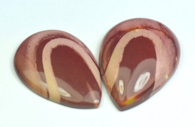 pair 2 mookaite Jasper from Australia 35 and 36mm