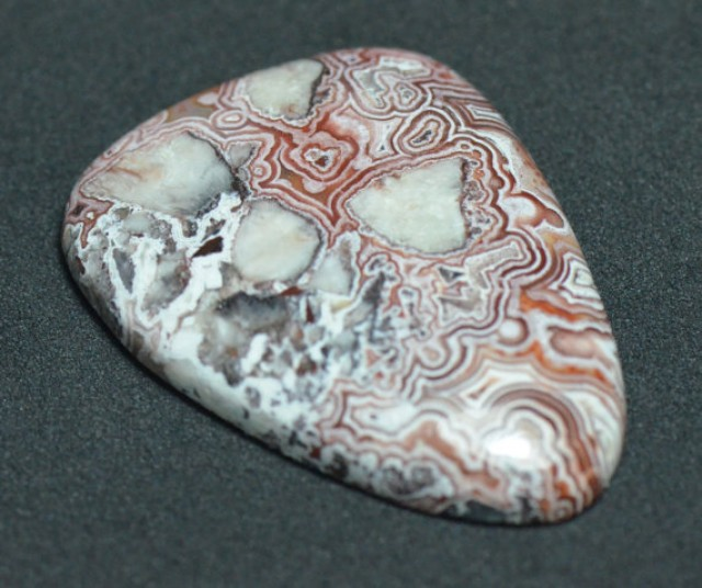31mm designer cut Mexican Red Lace Agate AAA Gemstone 31 by 22.5 by 5mm