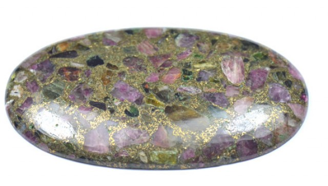 SALE HUGE 76mm Mohave Tourmaline gemstone cabochon - one and only 76 by 44