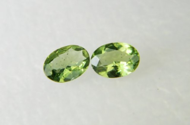 AAA+ Brazil Olive Apatite Faceted Stone Pair Z 1179