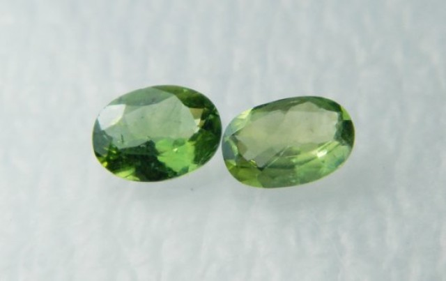 AAA+ Brazil Olive Apatite Faceted Stone Pair Z 1186