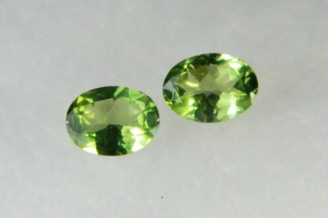 AAA+ Brazil Olive Apatite Faceted Stone Pair Z 1187