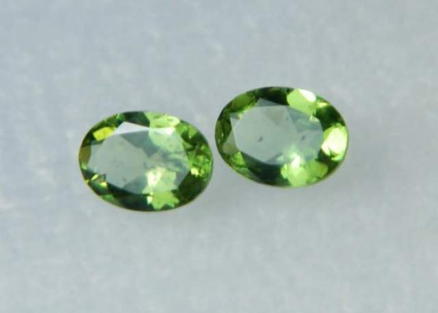 AAA+ Brazil Olive Apatite Faceted Stone Pair Z 1133