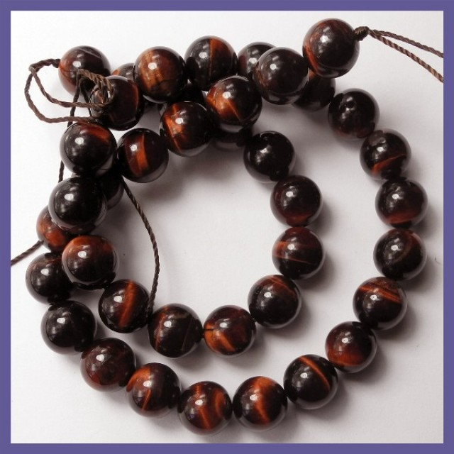 BEAUTIFULLY CHATOYANT NATURAL 10MM ROUND RED TIGER EYE BEADS!!
