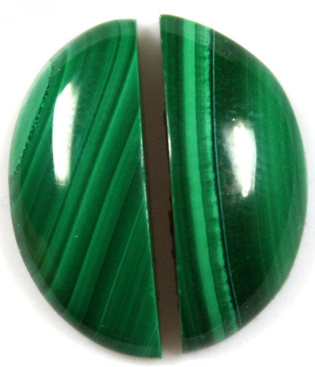 17.10  CTS CABOCHON HIGH DOME MALACHITE PAIRS
