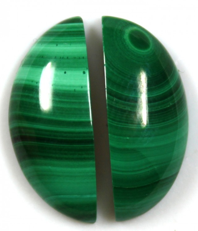 17.85 CTS CABOCHON HIGH DOME MALACHITE PAIRS