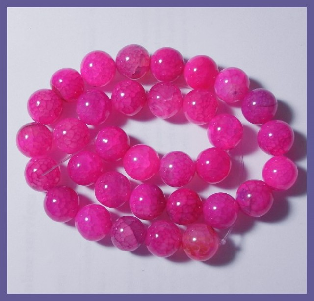 HIGH QUALITY 12MM DYED FUSCHIA DRAGON VEIN AGATE ROUND BEADS!!
