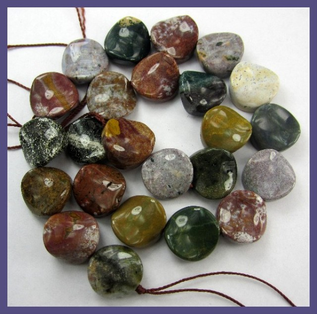 16.00MM BEAUTIFUL MOSS AGATE TWISTED COIN BEAD STRAND