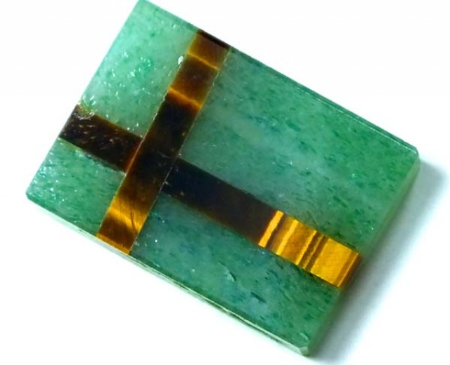 AUSTRALIAN CHRYSOPRASE WITH TIGER EYE 10.2 CTS    LG-166