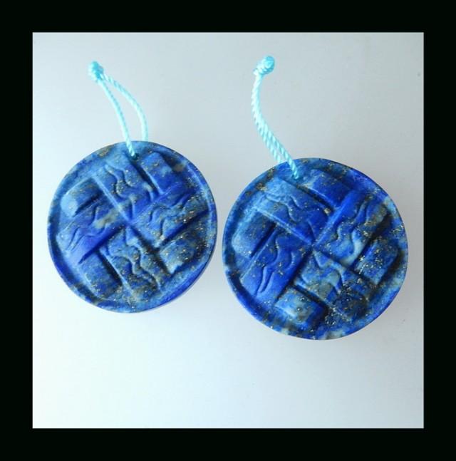 Handmade Lapis Lazuli Carving Earring Beads , 28x28x3 MM , 46.5 CTS