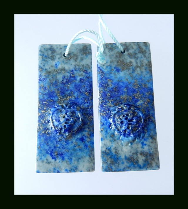 Natural Lapis Lazuli Carving Earring Beads  - 39x17x5 MM , 63.1 Cts