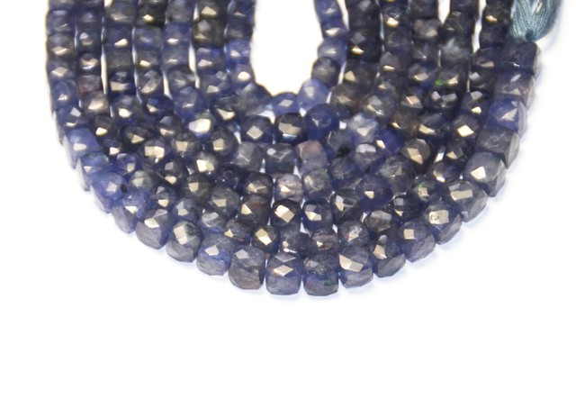 IOLITE blue cube faceted beads 6mm - 7mm 8