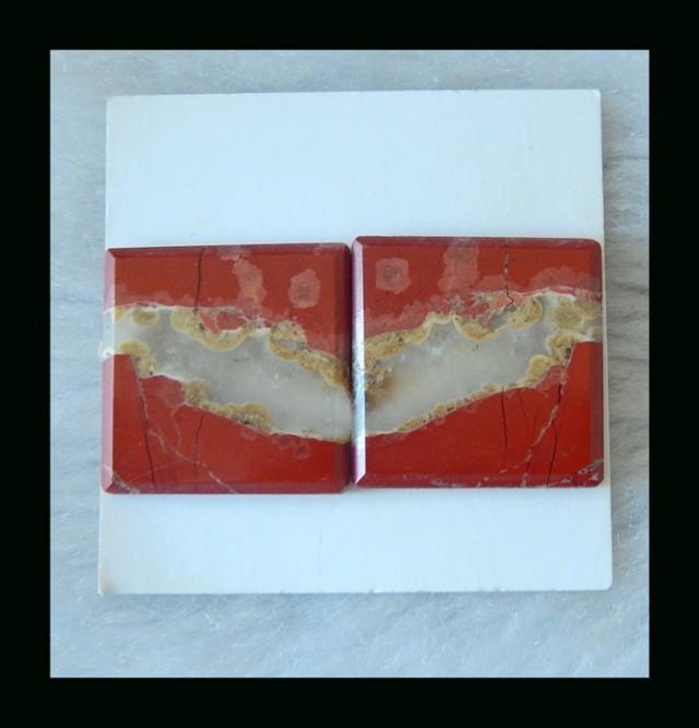 Red River Jasper Cabochon Pair  -  20x3 MM