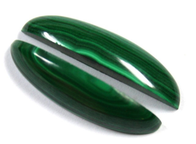 28.3 CTS CABOCHON HIGH DOME MALACHITE PAIRS
