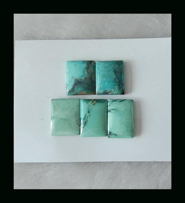 Square Turquoise Cabochons Set  - 16x11x4 MM ,14X12X4 mm