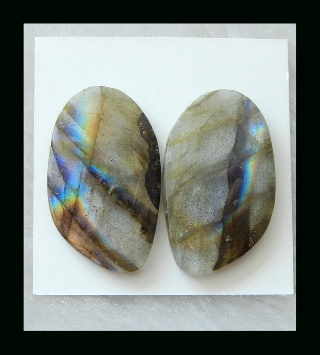 Stunning Labradorite Cabochon Pair  , SPECIAL - 28x17x4 MM