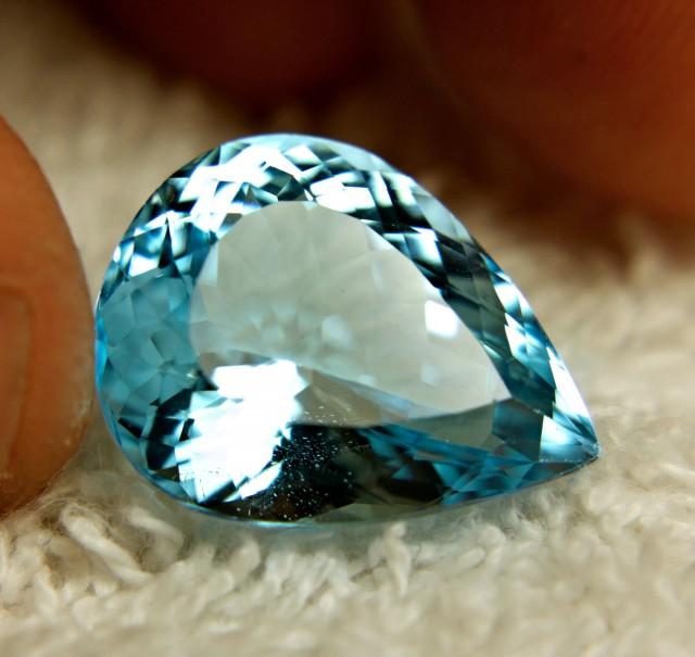 17.09 Carat Blue Brazil VVS Topaz Pear - Superb