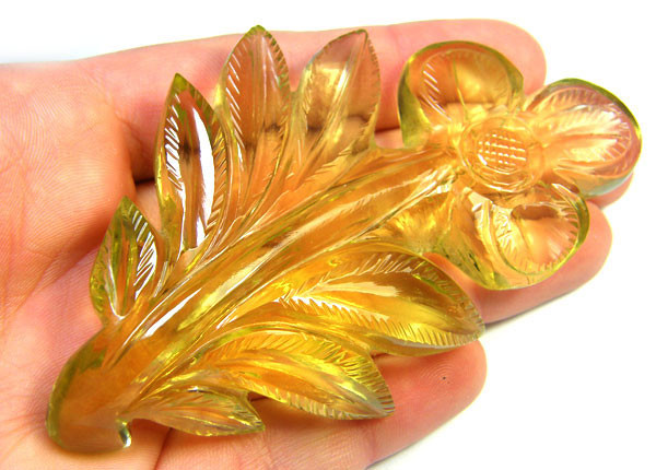 HUGE CARVED FLOWER AND LEAVES LEMON QUARTZ 360 CTS GWF 53