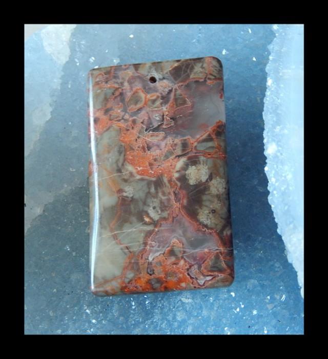 Bi Color  Mushroom Jasper Pendant Bead With 1mm Hole   -  52x31x6 MM