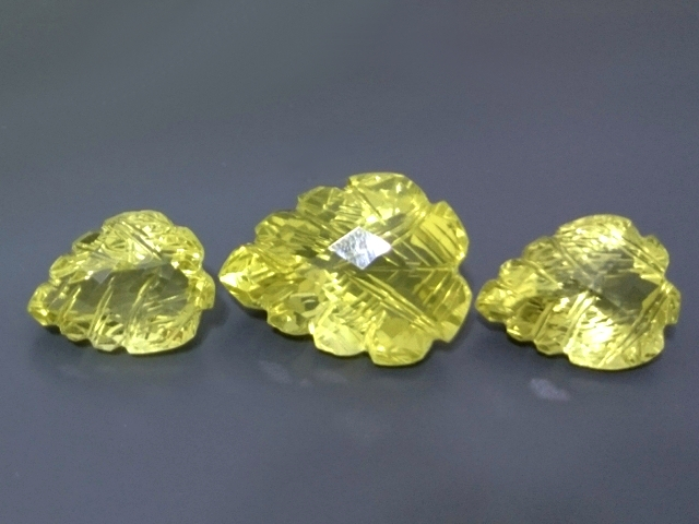 35.76ct 3 pcs Set Carving Natural Lemon QUARTZ