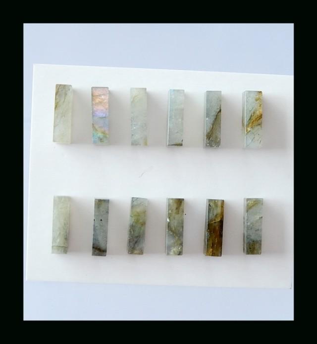 Natural Labradorite Cabochon Set - 14x4 MM