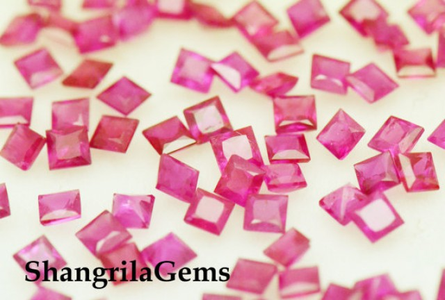 2mm Red Ruby Princess cut square gemstones 0.50ct 7 gems