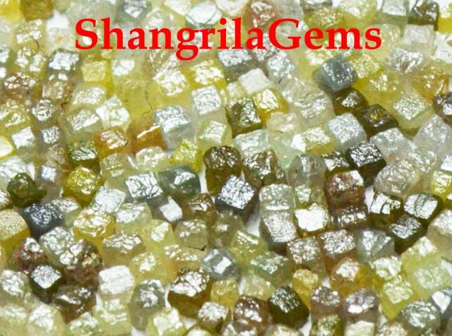 100 cube diamonds 1.5mm 2mm cube 5ct silver, grey, green, yellow