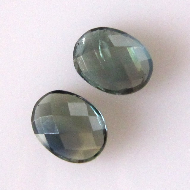 2.37cts  Matching Pair Natural Sapphires 2pcs Oval Checker Board