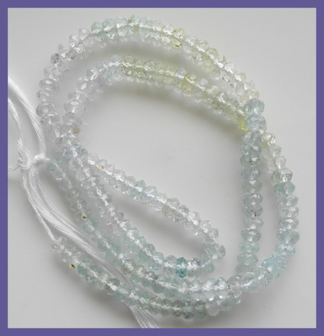 AA GRADE MULTI-COLOR AQUAMARINE FACETED ROUNDEL BEADS-3-4MM