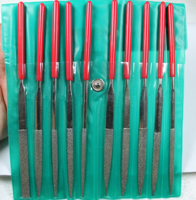10 PIECE SET DIAMOND NEEDLE FILE 120 GRIT IN PLASTIC CASE