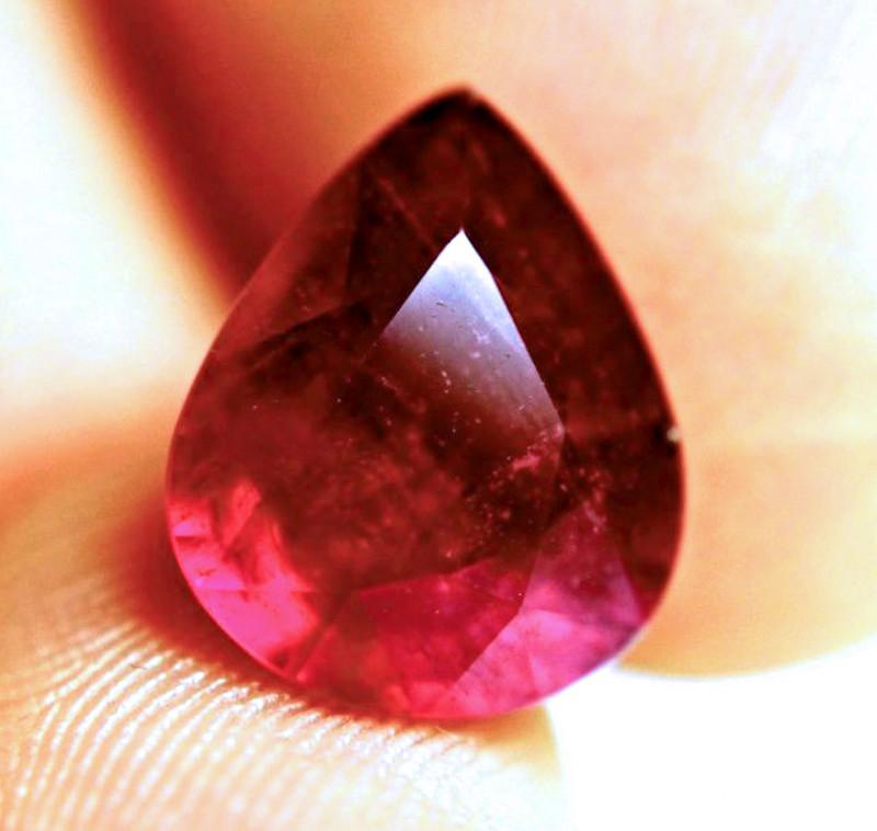 7.72 Carat Fiery Ruby Pear - Beautiful