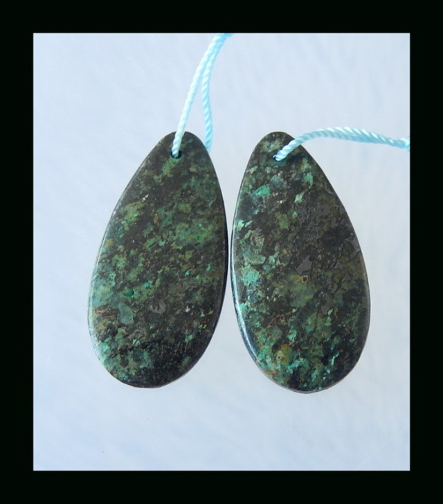 Hand Polished Turquoise Bead Pair - 30x15x4 MM