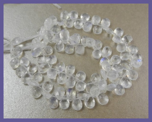 AAA 4.5X6-5X7MM RAINBOW MOONSTONE FACETED PEAR BRIOLETTES!!