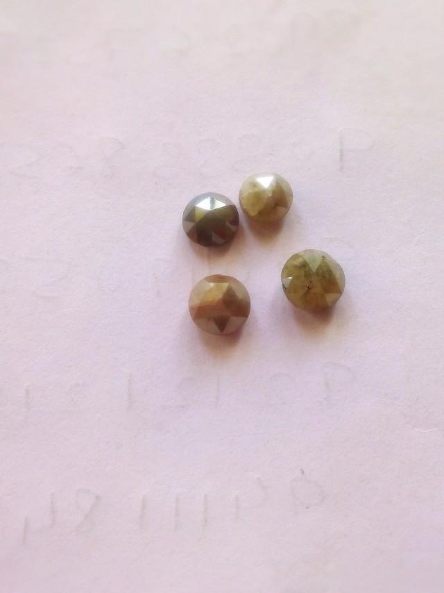 Natural rose cut fancy colour solitiare diamond-4pcs-4ctwlot