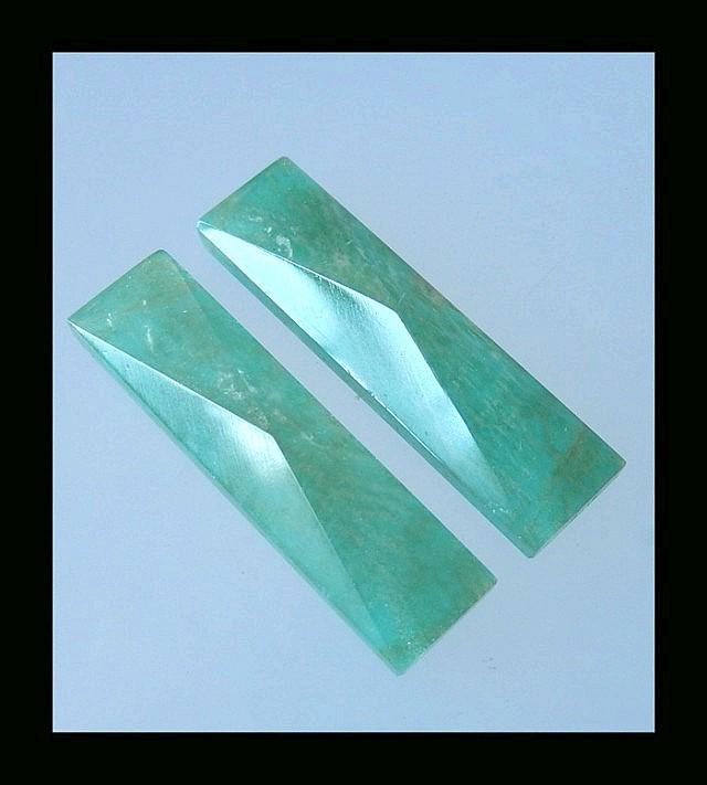P0271 - 39cts Quartz,Amazonite Intarsia Gemstone Pyramid Cabochon,Natural G