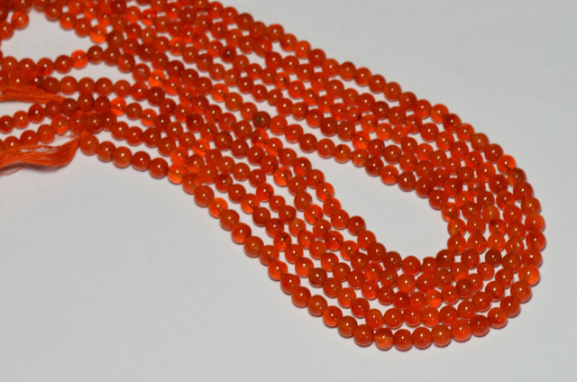 5mm red orange CARNELIAN round Beads 14