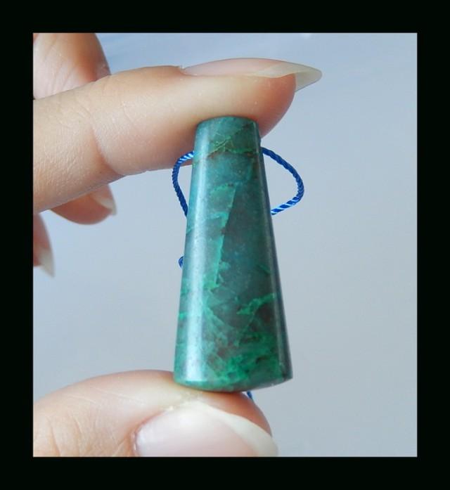Natural Chrysocolla Charm Bead - 33x14x10 MM