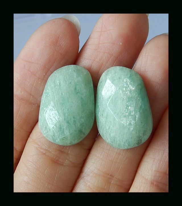 Fashion Faceted Amazonite Cabochon Pair -  21x14x5 MM
