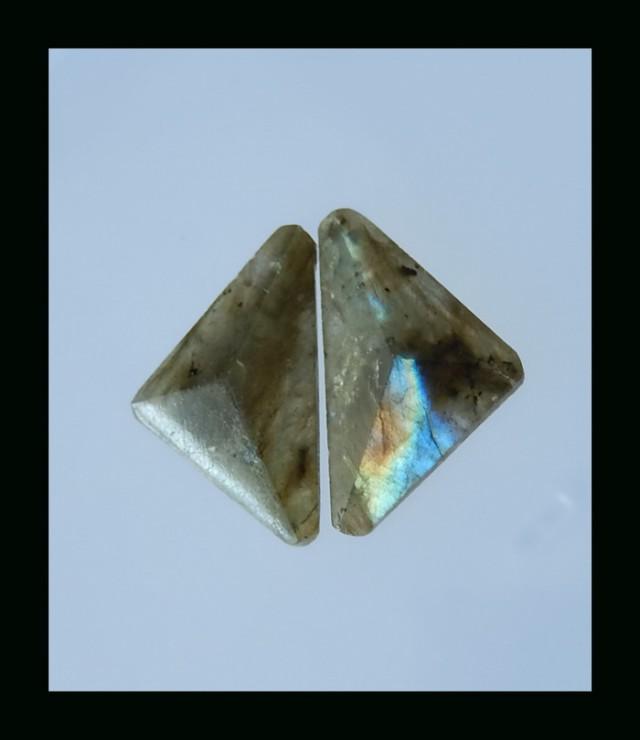 Natural Labradorite Cabochon pair - 31x19x6 mm