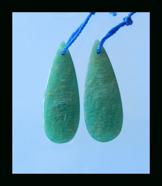 Natural Teardrop Amazonite Earring Bead - 31x11x4 MM