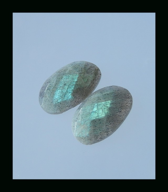 Fashion Faceted Labradorite Cabochon - 22x14x4 MM,24 Cts