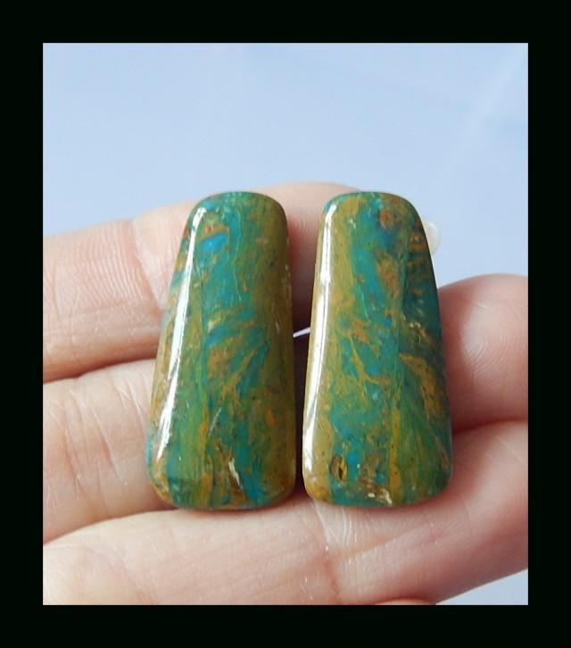 Bi Color Blue Opal Gemstone Cabochon Pair - 28x12x4 MM